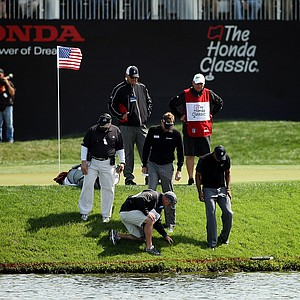 Tiger Woods, bottom right, along with playing partner David Lynn and their caddies try to search for Woods' ball at No. 17 during the Honda Classic on Saturday.