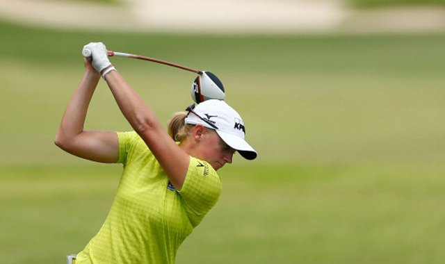 Stacy Lewis during the third round of the HSBC Women's Champions at the Sentosa GC on March 2 in Singapore.