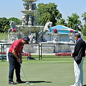 Steps away from a new fountain that was installed after Donald Trump purchased the Doral Resort and Spa last year, Padraig Harrington grooved his putting stroke Monday afternoon using a TaylorMade Daddy Long Legs putter.