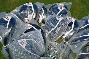 There were plenty of Callaway X Hot and X Hot Pro drivers and fairway woods available for pros to try on the range.