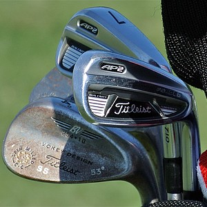 Steve Stricker practiced Monday using a set of Titleist 710AP2 irons and Vokey Design Spin Milled wedges.
