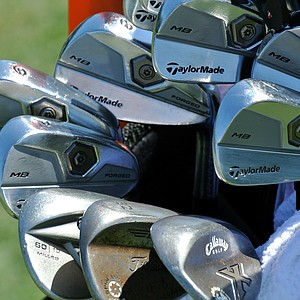 Scotland's Stephen Gallacher uses a set of TaylorMade Tour Preferred MB irons.