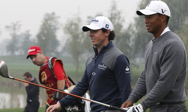 Rory McIlroy and Tiger Woods at the Lake Jinsha Golf Club in Zhengzhou, China, Monday, Oct. 29, 2012.