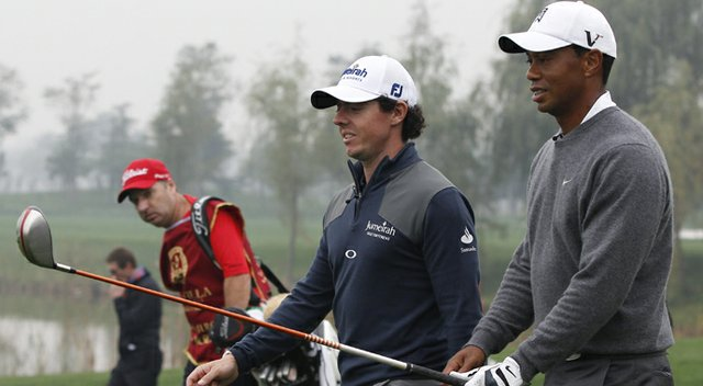 Rory McIlroy and Tiger Woods at the Lake Jinsha Golf Club in Zhengzhou, China, Monday, Oct. 29, 2012.