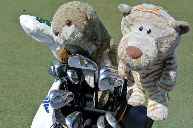 Martin Kaymer's venerable TaylorMade RAC TP Forged irons are watched over by his equally venerable tiger and beaver headcovers.