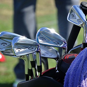 Jim Furyk's Callaway X Forged irons gleam under the South Florida sun.