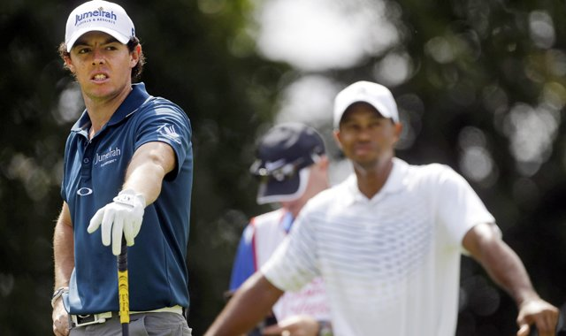 Rory McIlroy and Tiger Woods during the Tour Championship on Thursday, Sept. 20, 2012 in Atlanta. 
