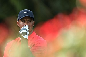 Tiger Woods waits on the 15th hole during the final round of the WGC-Cadillac Championship.