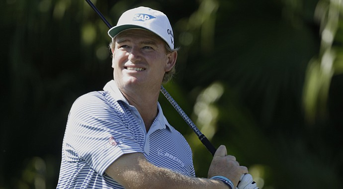 Ernie Els swings Friday during the WGC-Cadillac Championship in Doral, Fla.