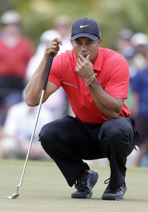 Tiger Woods on the No. 4 green during Sunday's final round of the WGC-Cadillac Championship in Doral, Fla.
