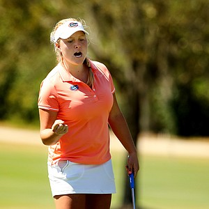 Florida's Camilla Hedberg reacts to making par at the tough No. 12 during the Sun Trust Gator Women's Invite at Mark Bostick Golf Course.