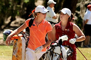 The Lendl sisters played together during Round 2 of the Sun Trust Gator Women's Invite at Mark Bostick Golf Course. Isabelle, left, is with the Gators and Daniela, right, is with Alabama.