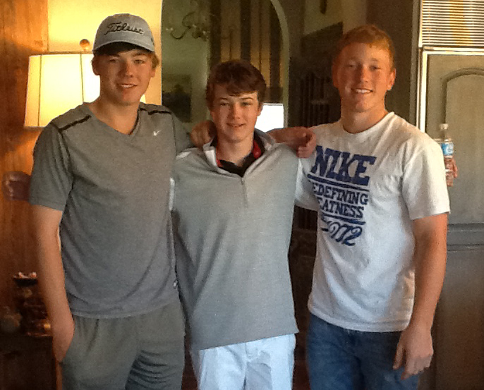 Junior golfers Sam Burns, Nathan Jeansonne and Brad Dalke.