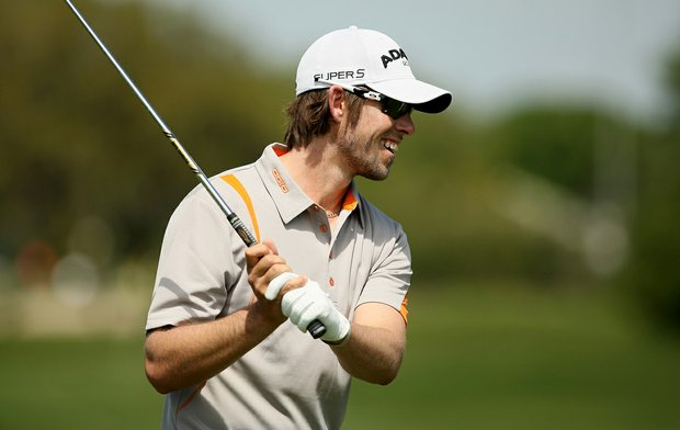 Aaron Baddeley has a laugh on the range on Tuesday of the Arnold Palmer Invitational.