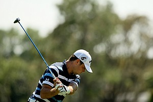 Gary Woodland tees off at No. 15 on Tuesday of the Arnold Palmer Invitational.