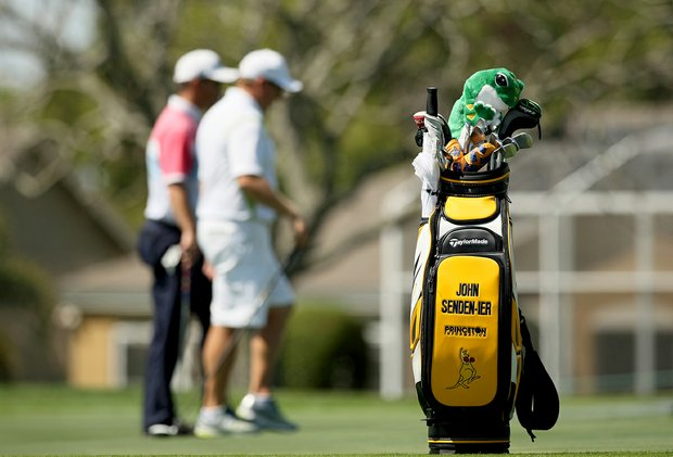 "John Senden's bag promoting the TaylorMade RocketBallz campaign by adding ""-ier"" to the end of their player's names."