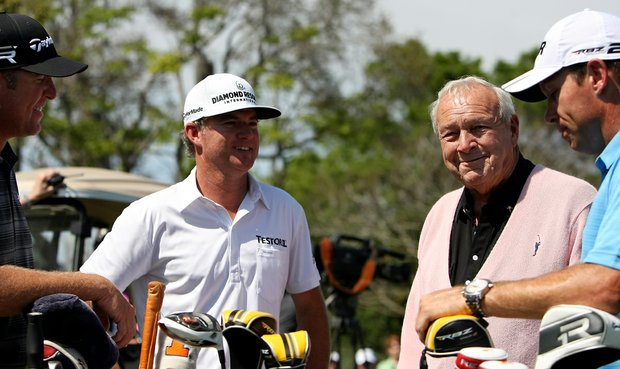 Arnold Palmer, second from right, chats with D. A. Points, left, Brian Gay, second from left, and Brian Davis, far right, on Tuesday of the Arnold Palmer Invitational at Bay Hill Club and Lodge.
