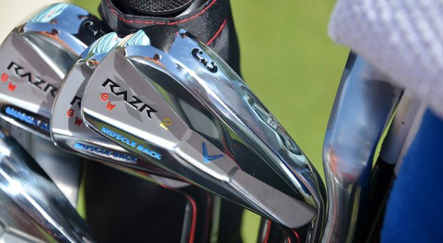 Gary Woodland's Callaway RAZR X Forged irons are decorated with have four different colors of paint fill.