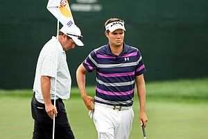 Jeff Overton makes his way around the 8th green on Wednesday of the Arnold Palmer Invitational at Bay Hill Club and Lodge.