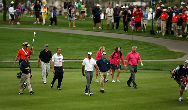 Tiger Woods walks down nine fairway during the Pro-Am on Wednesday of the Arnold Palmer Invitational.