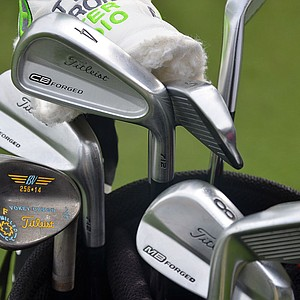 Charley Hoffman plays a mixed set of Titleist 712 CB long irons and 712 MB short irons. His Vokey Design wedges show his UCLA pride.