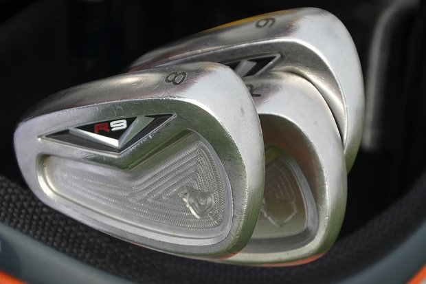 TaylorMade R9 TP irons come with a black badge on the back of the club, but Mike Weir's custom set is intentionally left unfinished.
