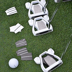 The top plate of these TaylorMade Ghost Spider S putters can be fitted with any alignment aid a pro wants.