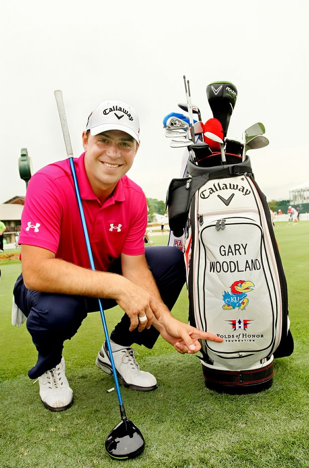 Gary Woodland with his bag showing the Folds of Honor logo on Wednesday of the Arnold Palmer Invitational.