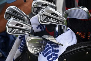 Jason Dufner's Titleist 712 AP2 irons look standard, but his Vokey Design SM4 wedges are sprinkled with DUFs.