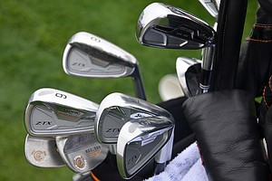 John Rollins has used a set of Srixon Z-TX irons for a while, but the forgiving Cleveland 588 MT 3-iron (MT stands for mid-trajectory) has been added recently.