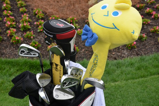 Kevin Streelman's Wilson FG Tour V2 irons are watched over by a Lemonhead candy.