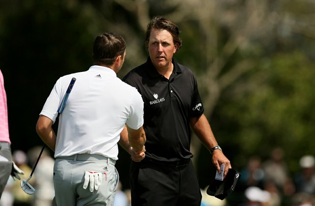 Phil Mickelson and Sergio Garcia after Round 2 of the Arnold Palmer Invitational.
