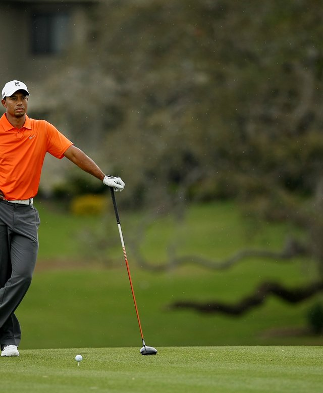 Tiger Woods waits to hit at No. 16 in Round 2 of the Arnold Palmer Invitational.