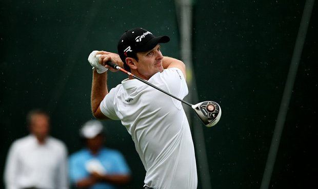 Justin Rose hits his tee shot at No. 18 in Round 2 of the Arnold Palmer Invitational.