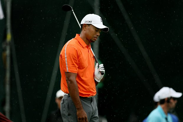 Tiger Woods reacts to his tee shot at No. 18 in Round 2 of the Arnold Palmer Invitational.