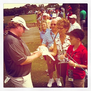 Brad Fritsch signs autographs in Round 2 of the Arnold Palmer Invitational.