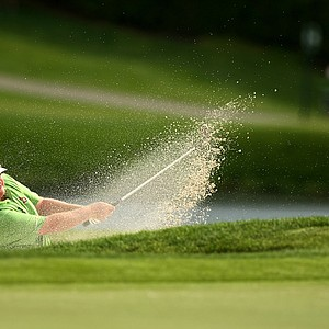 Brad Fritsch hits out of the bunker at No. 17 on Saturday.