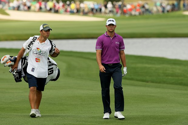 Luke Guthrie with his brother and caddie Zach at Bay Hill's sixth.