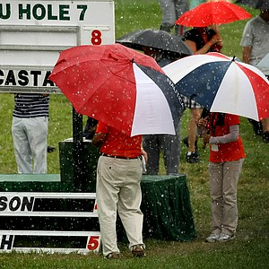 A light rain fell for a few minutes Saturday afternoon at the Arnold Palmer Invitational.