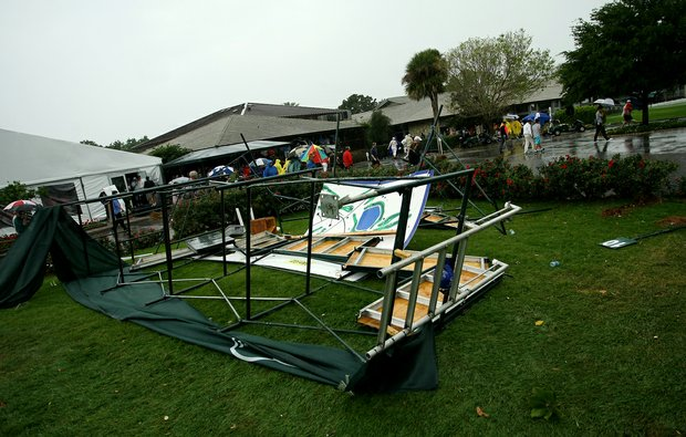 The scoreboard at No. 1 tee lays on the ground after severe weather during the final round at Arnold Palmer Invitational at Bay Hill.