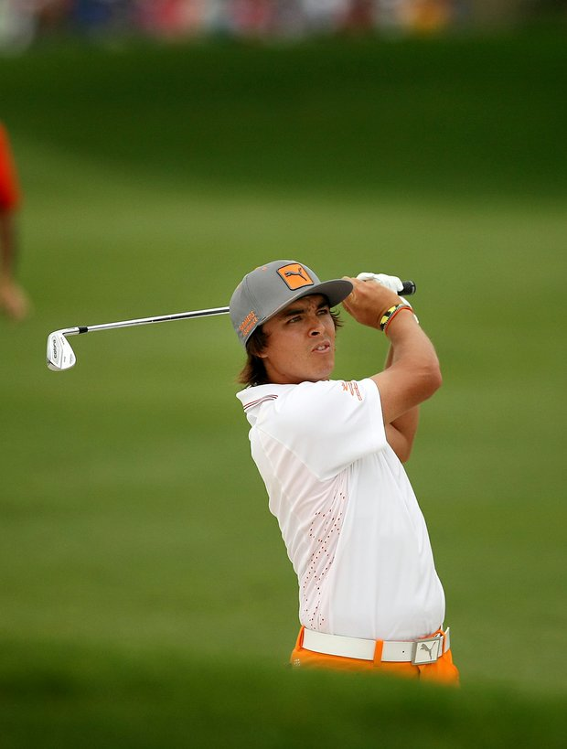 Rickie Fowler from the bunker at No. 1 in the final round at Arnold Palmer Invitational at Bay Hill.