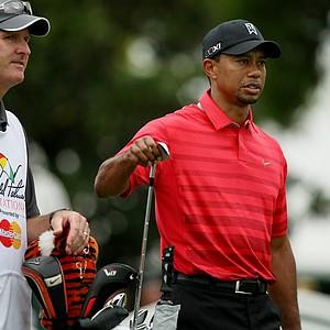 Tiger Woods with hs caddie Joe Lacava at No. 2 in the final round at Arnold Palmer Invitational at Bay Hill.