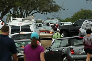 Traffic is jammed up leaving the parking lots during the final round at Arnold Palmer Invitational at Bay Hill.