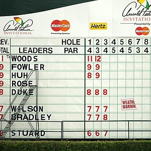 The leaderboard at No. 18 indicating severe weather in the final round at Arnold Palmer Invitational at Bay Hill.