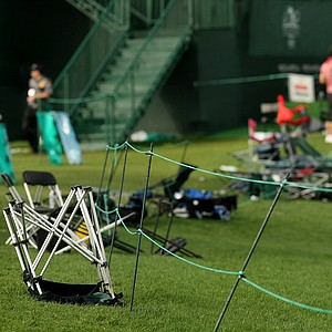 Chairs overturned and left behind after severe weather made it's way through Bay Hill during the final round at Arnold Palmer Invitational at Bay Hill.