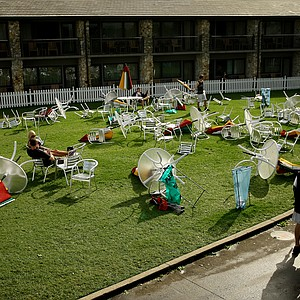 Tables and chairs were overturned after strong winds and severe weather blew through Bay Hill during the final round at Arnold Palmer Invitational at Bay Hill.