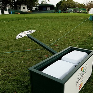 A sign at No. 1 tee leans on it's side after severe weather in the final round at Arnold Palmer Invitational at Bay Hill.