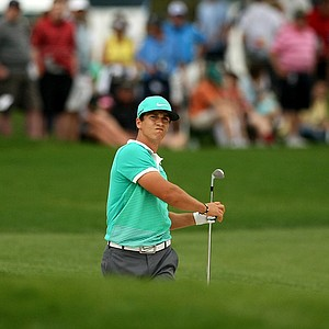 Thorbjorn Olesen hits out of a bunker at No. 1 in the final round at Arnold Palmer Invitational at Bay Hill.