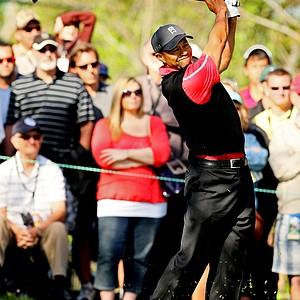 Tiger Woods hits his tee shot at No. 3 on Monday at Arnold Palmer Invitational at Bay Hill.