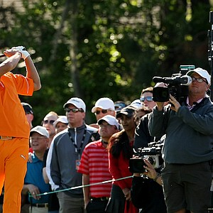 Rickie Fowler tees off at No. 4 on Monday at Arnold Palmer Invitational at Bay Hill.